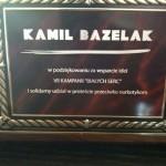 Tablica z podziękowaniem dla Kamila Bazelaka