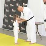 I Turniej Furo Karate w Andrespolu. Na zdjęciu Zuzanna Wałoszek, sensei Kamil Bazelak, sensei Robert Musierowicz